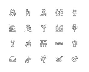 Simple Set of 20 Vector Line Icon. Contains such Icons as Ticket