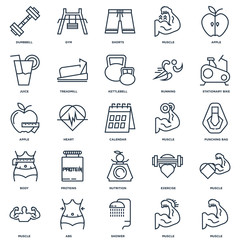 Set Of 25 outline icons such as Muscle, Shower, Abs, Stationary