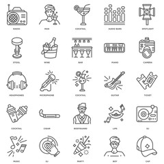 Simple Set of 25 Vector Line Icon. Contains such Icons as Cap, B