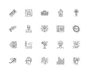 Simple Set of 20 Vector Line Icon. Contains such Icons as Mixing