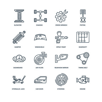 Set Of 16 Universal Editable Icons. Includes Elements Such As En