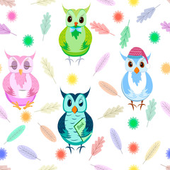 Owls seamless pattern on white background. Colorful backdrop with adorable owlets in different poses. Modern flat vector illustration for wallpaper, wrapping paper, fabric print.