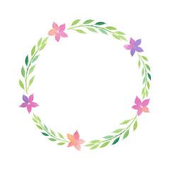 Watercolor spring wreath leaves flowers