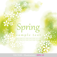 Spring. Four seasons calendar days of the year cover of the title page. Colorful hand drawn design from watercolor stains. Vector illustration