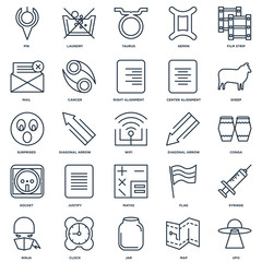 Set Of 25 outline icons such as Ufo, Map, Jar, Clock, Ninja, She