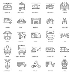 25 linear icons related to Tram, Bus, Cable car, Trolleybus, Mot