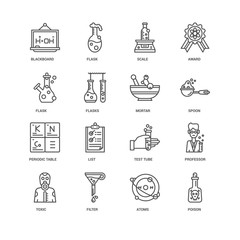 Simple Set of 16 Vector Line Icon. Contains such Icons as Poison