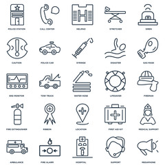Set Of 25 outline icons such as Megaphone, Support, Hospital, Fi