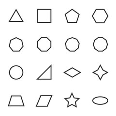 Geometric figures icon set. Shapes, linear icons. Line with editable stroke