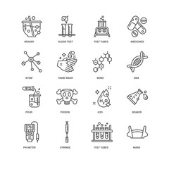 Simple Set of 16 Vector Line Icon. Contains such Icons as Mask,