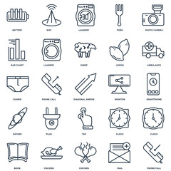Set Of 25 outline icons such as Phone call, Mail, Chicken, Book,