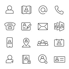 Contact, icon set. Communication and contacts, linear icons. Line with editable stroke