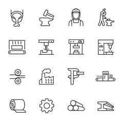 Metallurgy, icon set. Metal production industry, linear icons. Machining and fabrication steel products. Line with editable stroke