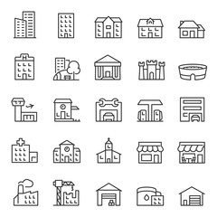 Obraz Buildings, icon set. Various city edifices, houses. linear icons. Line with editable stroke - fototapety do salonu