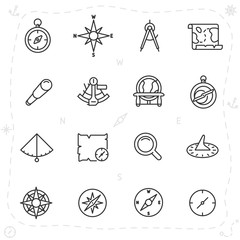 vintage navigation and measuring devices for seafarer, icon set. compass, astrolabe, sextant and others, linear icons. Line with editable stroke