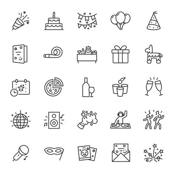 Party, icon set. Celebration, birthday, linear icons. Line with editable stroke