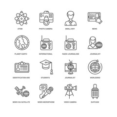 Simple Set of 16 Vector Line Icon. Contains such Icons as undefi