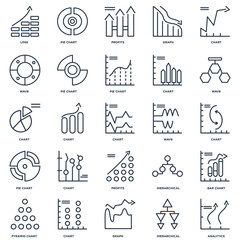 Set Of 25 outline icons such as Analytics, Hierarchical structur