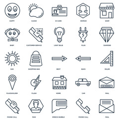 Set Of 25 outline icons such as Mail, Phone call, Speech bubble,
