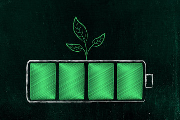 green energy battery with leaves growing from it