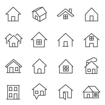 House, icon set. Houses, buildings, linear icons. Line with editable stroke