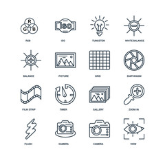 Set Of 16 Universal Editable Icons. Includes Elements Such As Vi