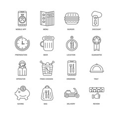 16 linear icons related to Review, Beer, Mobile app, undefined,
