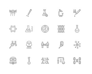 20 linear icons related to Bacteria, Laboratory, Biology, Flask,