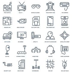 Set Of 25 outline icons such as Big Light Bulb, Chip, Hoverboard