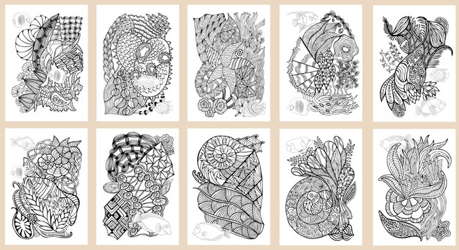 Set of hand drawn pages in zendoodle style for adult coloring book. Abstract marine and floral motifs with coral fishes.