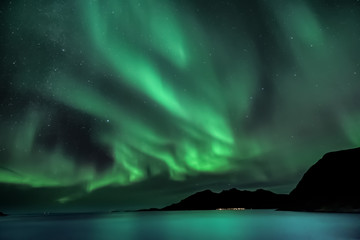 Aurora Borealis - northern lights - View from Grotfjord - Kwaloya -  north Norway