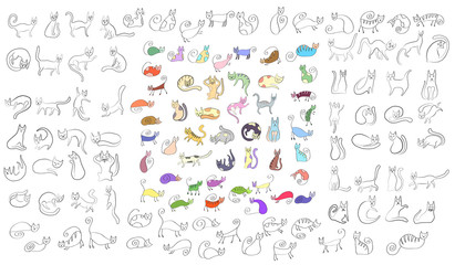 Large set of odd funny colored primitive style cats. doodle style icons.