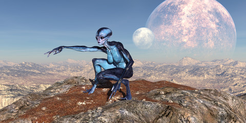 3d illustration of an female extraterrestrial looking at an alien world with an upheld arm pointing while crouching on a mountain top with large and small moons in the background.