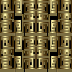 Modern 3d greek vector seamless borders pattern. Geometric abstract ornamental gold and black background. Repeat ornate patterned backdrop. Trendy greek key meanders striped ornament. 3d wallpaper.