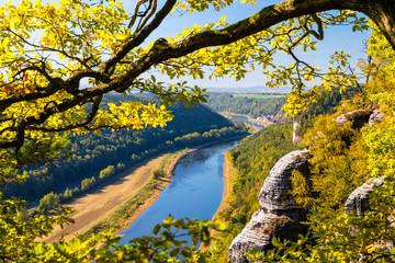 Sächsische Schweiz, Basteiaussicht auf die Elbe