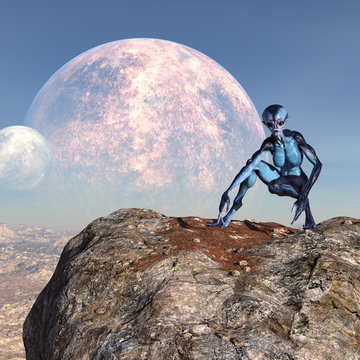 3d illustration of an female extraterrestrial looking at an alien world while crouching on a large boulder with large and small moons in the background.