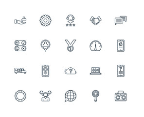 Set Of 20 Universal Editable Icons. Includes Elements Such As Br