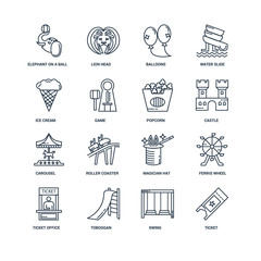 Set Of 16 outline icons such as Ticket, Swing, Toboggan, Ticket