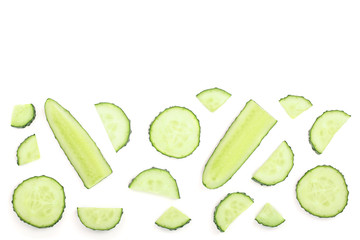 Cucumber slices isolated on white background with copy space for your text. Top view. Flat lay pattern. Set or collection