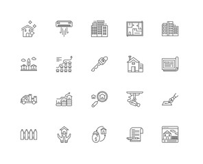 Simple Set of 20 Vector Line Icon. Contains such Icons as Real e