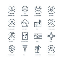 Set Of 16 Universal Editable Icons. Includes Elements Such As Pl