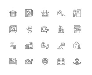 Simple Set of 20 Vector Line Icon. Contains such Icons as House,