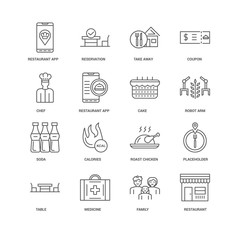 16 linear icons related to Restaurant, Restaurant app, undefined