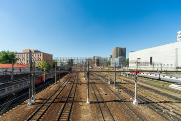 Railway tracks in the center of Moscow