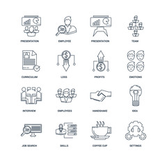 Set Of 16 outline icons such as Settings, Coffee cup, Skills, Jo