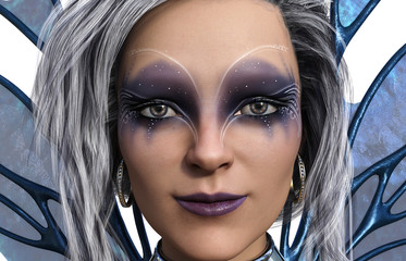 3d illustration of a beautiful winged fairy with blue wings white and gray hair with exotic makeup and a chain choker on a white background.