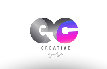 ec e c silver grey metal metallic gradient alphabet letter logo combination icon design