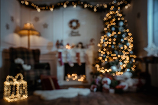 Empty, defocuded christmas room background with copy space