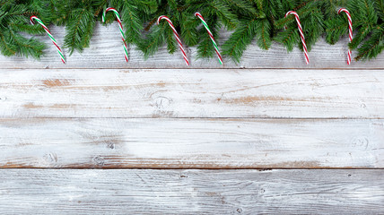 Christmas evergreen branches and candy canes on white vintage wooden planks