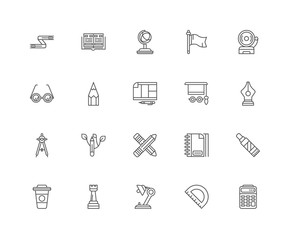 Simple Set of 20 Vector Line Icon. Contains such Icons as Calcul